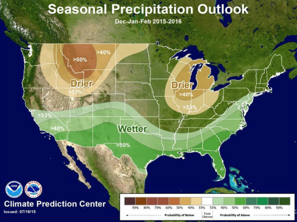 NOAA predicts above average precipitation and below average temperatures this winter for our region!
