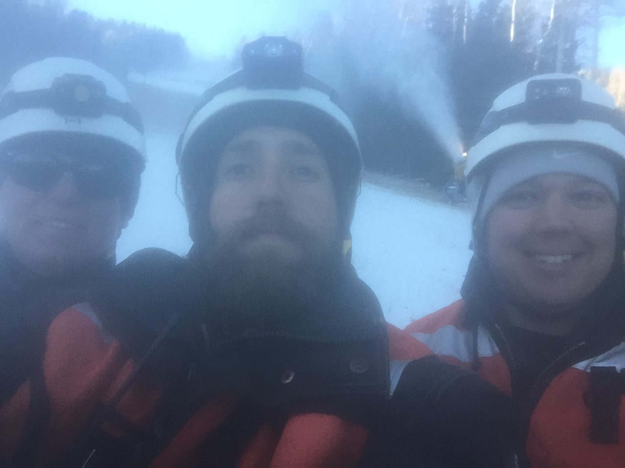 Last night's snowmaking crew from left to right: me, Tommy and George