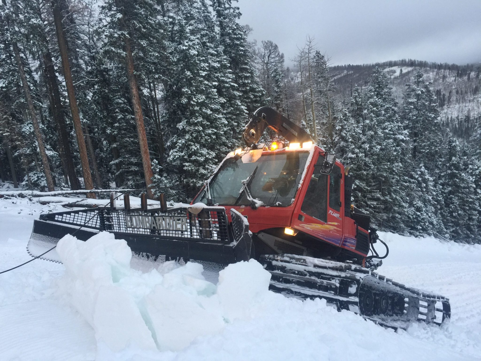Me in the snowcat trackpacking our new snow!