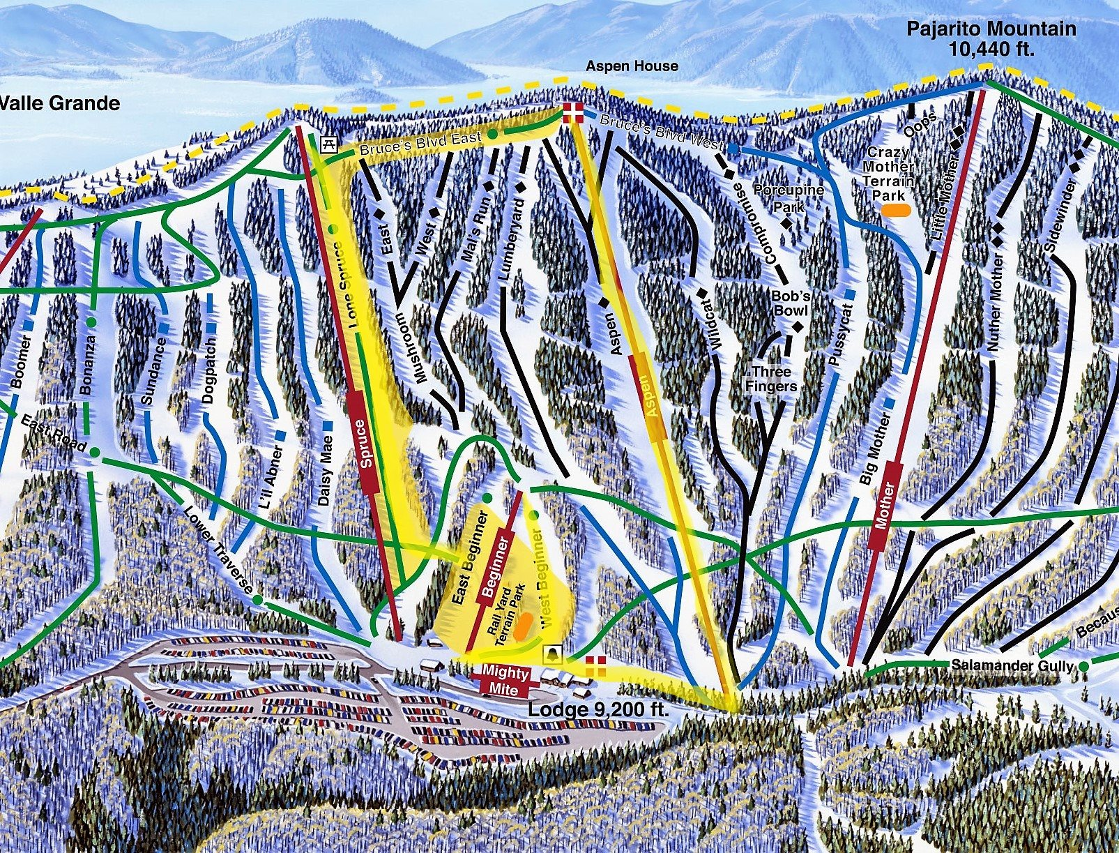 pajarito winter trail map 2016-17