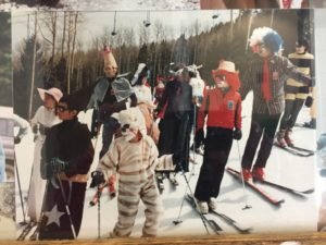 Old photo of skiest costumes
