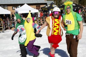 People in costumes on snow